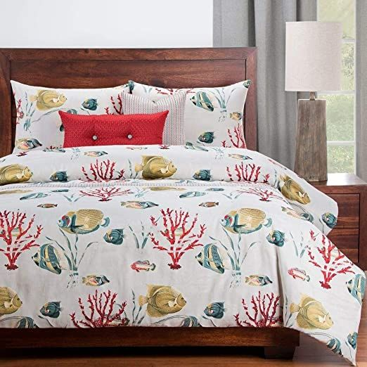 Hnu 6 Piece All Season Tropical Red White Duvet Cover King Beautiful Nature Small Large Fish S Nautical Bedding Sets White Duvet Cover King White Duvet Covers