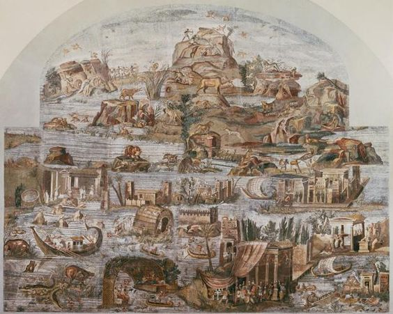 Nile mosaic (Barberini mosaic) from the Sanctuary of Fortuna at Praeneste, Italy. Dated to the last quarter of the second century BCE. (image and caption from wordpress.com)