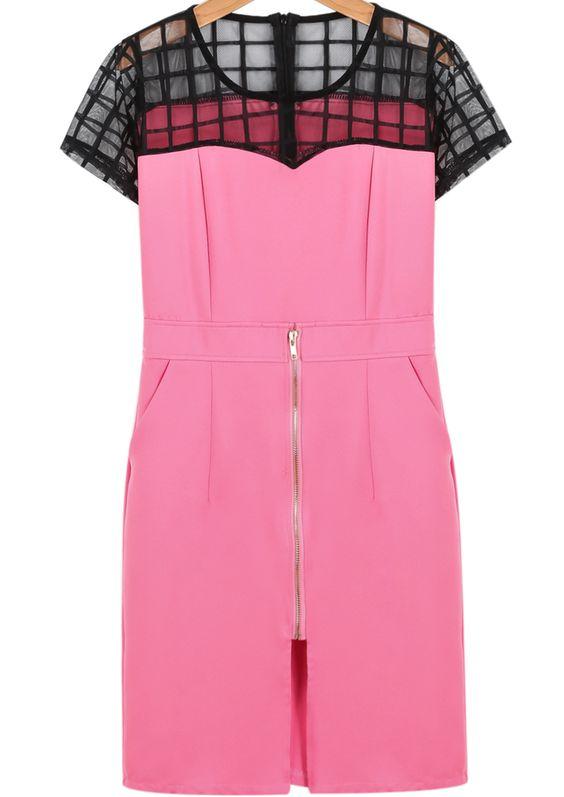 Pink Short Sleeve Contrast Mesh Yoke Dress - Sheinside.com