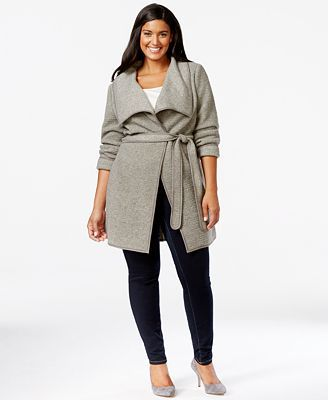 Calvin Klein • Belted Wrap Sweater-Jacket | { Plus size clothing