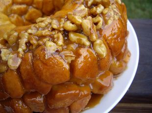 yummy overnight pumpkin spice monkey bread - This was good. It was super, super easy to make. It looked very pretty. Since you use frozen roll dough the flavors do not spread throughout the entire bread. B+ for taste, A+ for the simplicity of the recipe.