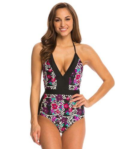 Jessica Simpson Swimwear It Girl Strap Back Halter One Piece Swimsuit