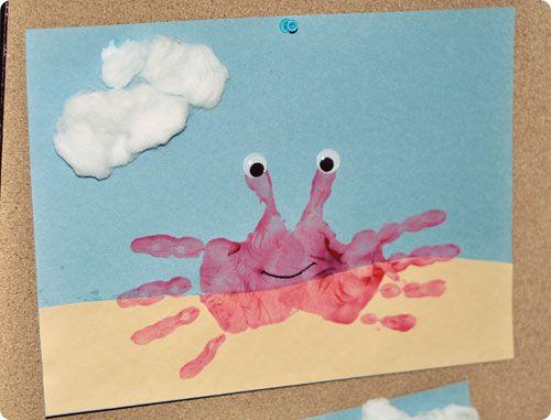 Preschool painting project: Crab Craft, Hand Crab, Crab Handprint
