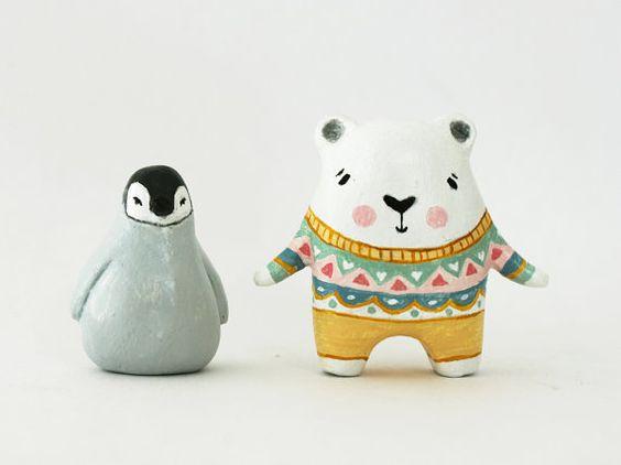 AUTUMN SALE Penguin animal sculpture - Paper clay little figurine