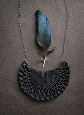 pleated silk necklace