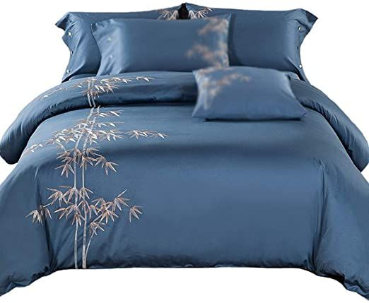 Duvet Cover Set King Size Cotton Satin Bamboo Embroidery Blue 4 Pcs Ultra Soft Hypoallergenic Microfiber Quilt Blue Duvet Cover Luxury Duvet Covers Bed Spreads