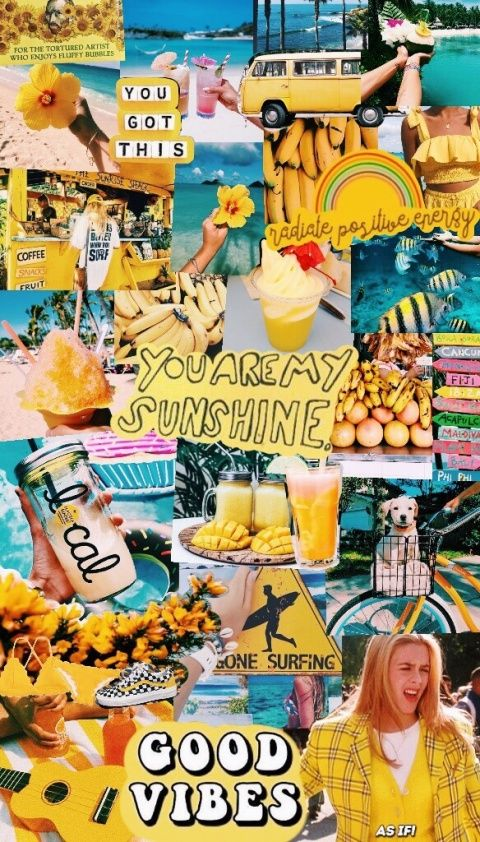 Vsco Woah Ty For 1k Republishes Check Out My Other Posts If Ur Bored Lol Maddieparadisee Summer Wallpaper Collage Background Yellow Aesthetic