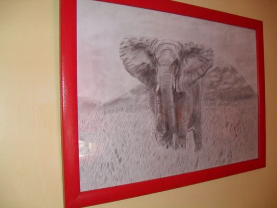 Pine wooden frame painted red. Elephant drawing by friend.