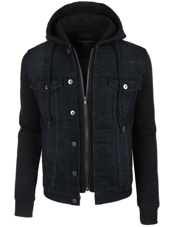 LE3NO Mens Vintage Long Sleeve Denim Jean Jacket with Fleece