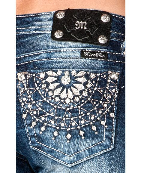 Miss me medallion embroidered pocket skinny jeans