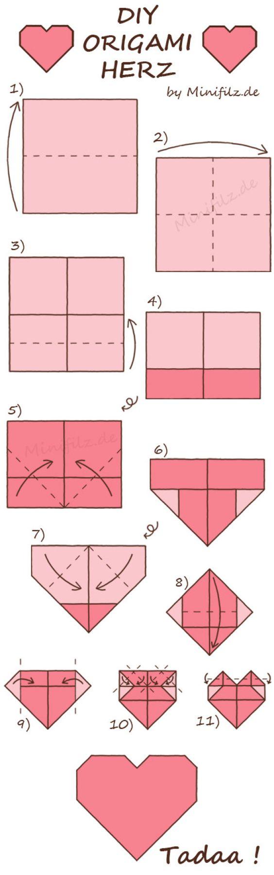 Origami Herz falten
