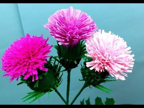 How To Make Thistle Flower From Crepe Paper Craft Tutorial Youtube Paper Flowers Paper Flowers Diy Paper Flower Kit