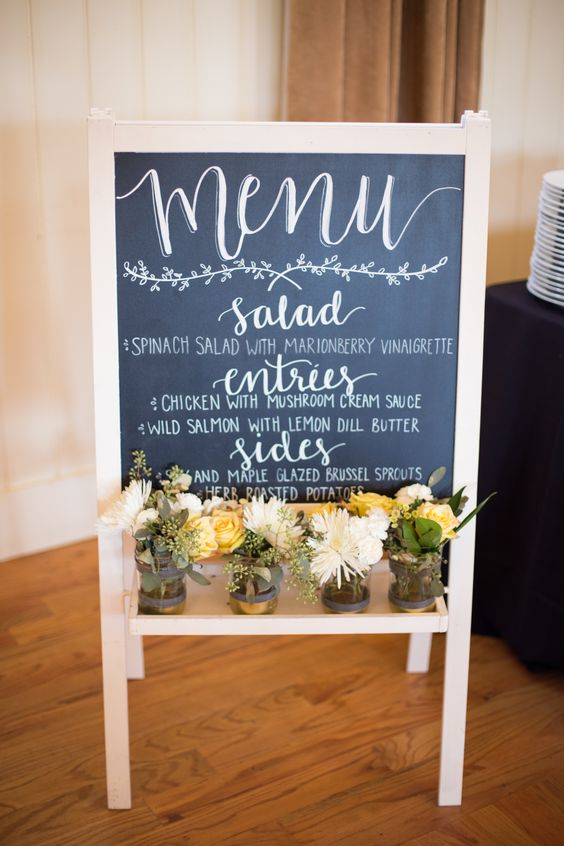 Menu chalkboard easel for a wedding