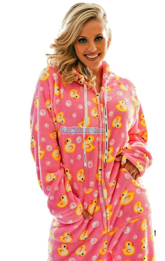 Fuzzy Pink Ducks - Hooded Footed Pajamas - Pajamas Footie PJs ...