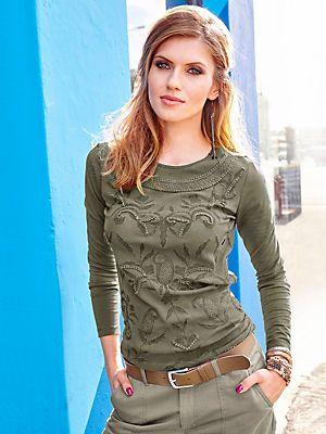 Aniston Langarmshirt, Netzoptik vorn »mit Stickereien und Spitzenapplikationen« im Universal Online Shop