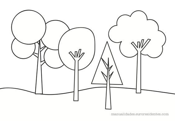 dibujo de árboles para colorear