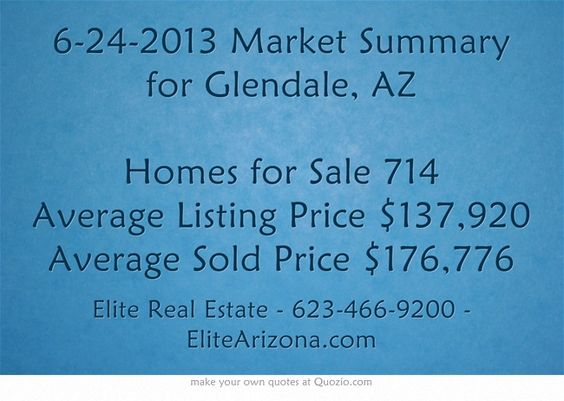 6-24-2013 Market Summary for Glendale, AZ  Homes for Sale 714 Average Listing Price $137,920  Average Sold Price $176,776