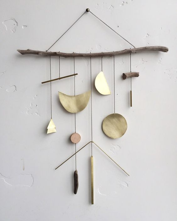 Brass geometric wall hanging geometric by ELECTRICSUNCREATIVES: