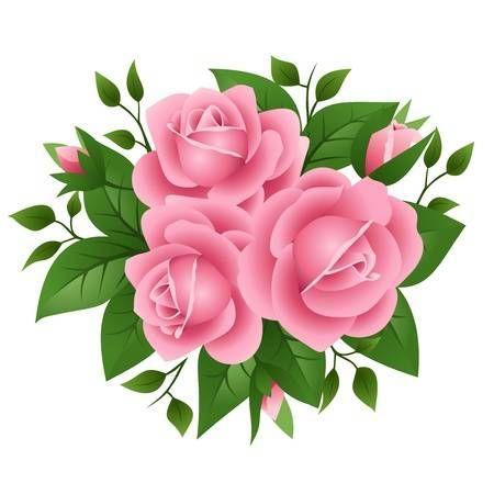 Illustration Of Three Pink Roses Flower Clipart Botanical Flowers Flower Art