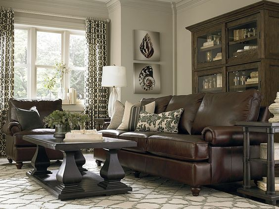 Dark brown couch with pillows google search great room - Black and brown living room furniture ...
