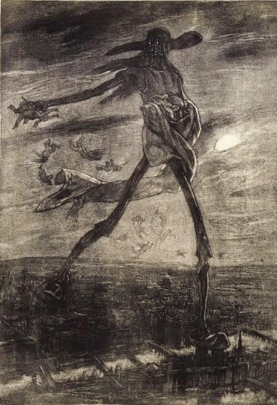 """Felicien Rops - Les Sataniques planche 1 """"Satan semant l'ivraie"""" 1881 héliogravure et vernis mou:"""