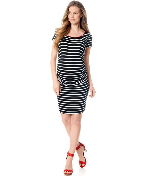 A Pea In The Pod Maternity Striped Contrast-Trim Dress