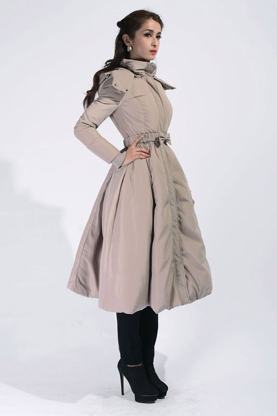 Khaki Long Parka with Hood / Down Filled Long Coat / Big Sweep
