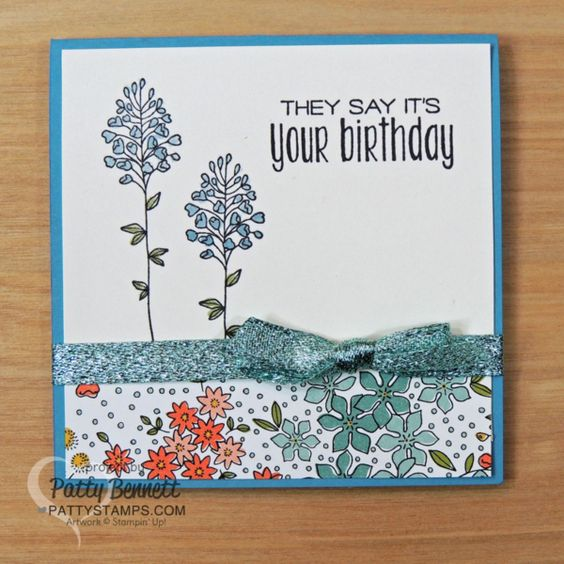 Stampin' Up! Flowering Fields notecards with Wink of Stella coloring technique by Patty Bennett. Wildflower Fields designer paper accents.