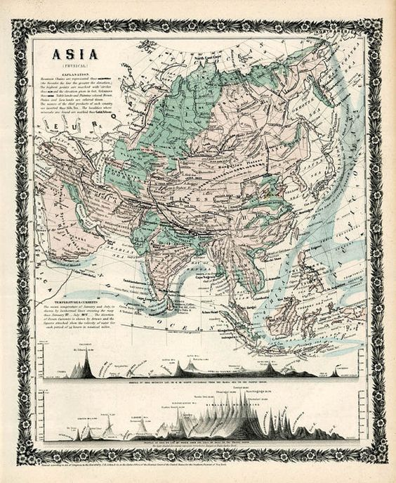Antique #map of asia