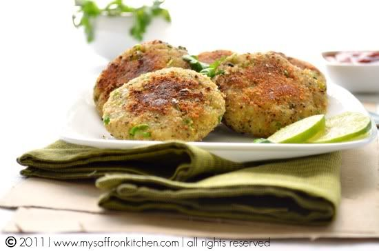 Aloo Tikki: Indian spiced potato and pea fritters