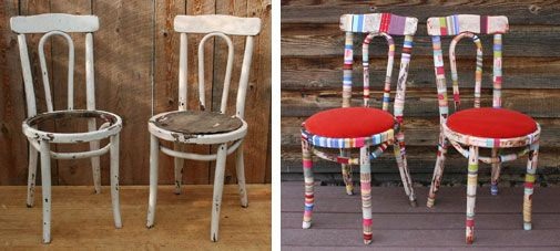 Before After Shabby Chic Fabric Wrapped Chair Make Over