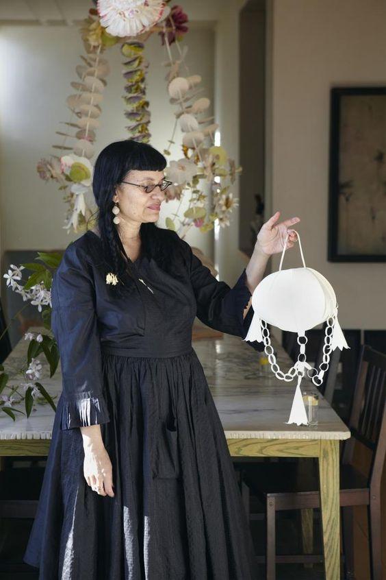Lauren McIntosh wearing a black John Paul Gaultier dress from the designer's archives