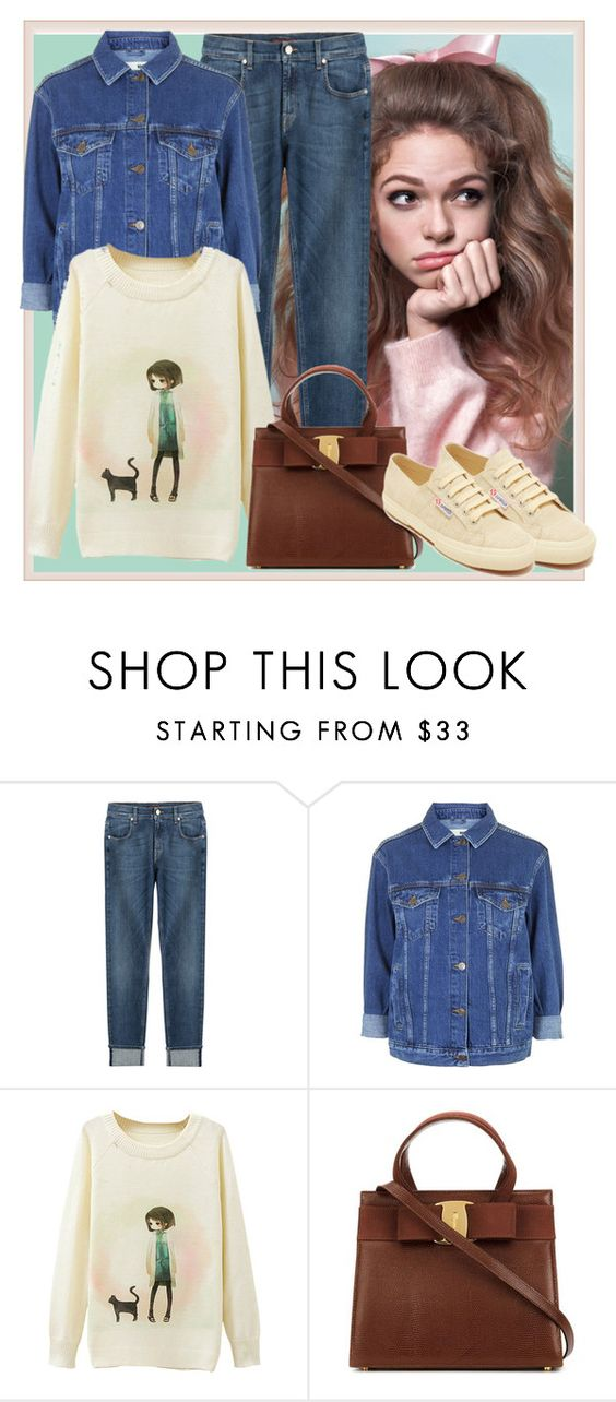 """""""Denim girl"""" by jovanalove ❤ liked on Polyvore featuring 7 For All Mankind, Topshop, Superga, women's clothing, women, female, woman, misses, juniors and jeans"""