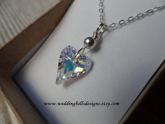 Crystal AB Wild Heart Necklace by weddingbellsdesigns on Etsy, $25.00