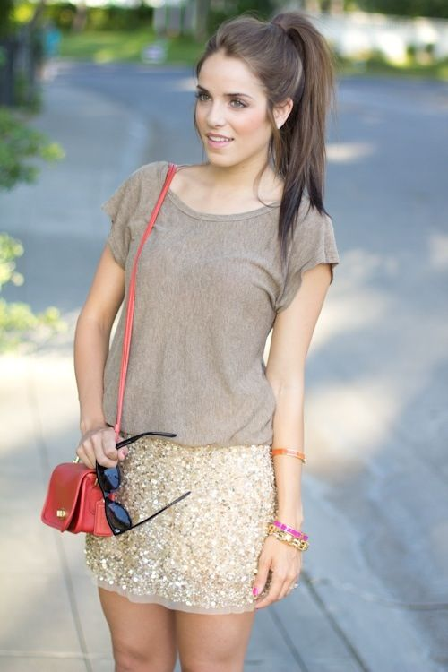 high pony + glitzy skirt + comfy tee = simple perfection