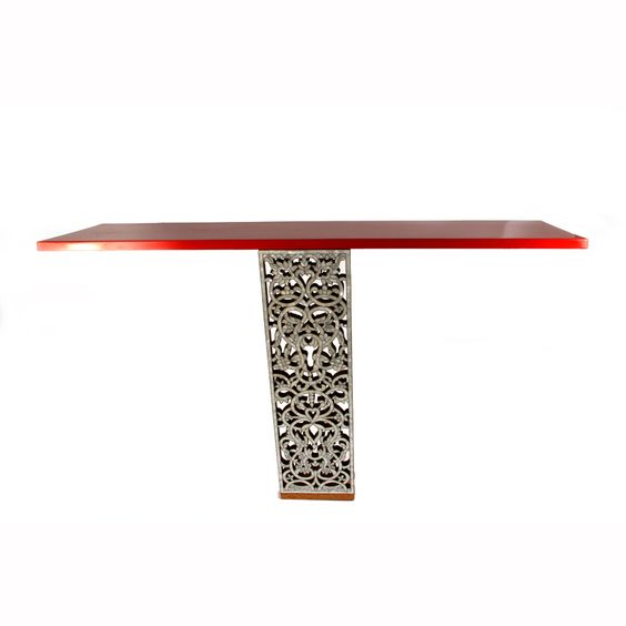 Diva Console; Red lacquer floating shelf with ornamental floral design inlaid and carved with mother of pearl. Designed by: Racha Kouzbari Khoja. To be ordered online through www.levantania.com