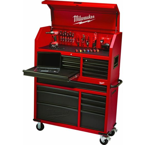 milwaukee 46 in 16 drawer tool chest and rolling cabinet set red and black 48 22 8510 20 the. Black Bedroom Furniture Sets. Home Design Ideas