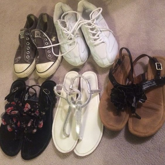 Bundle of sandals/sneakers! 3 pairs of sandals and two pairs of sneakers! Great deal, adorable shoes! Some 7's and 7.5 Shoes Sandals
