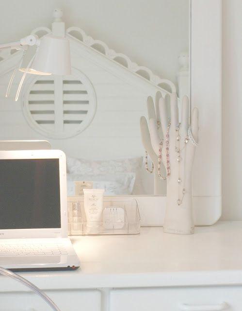 Romantic feminine shabby chic white bedroom/cottage style scalloped beadboard headboard/white desk/laptop/Hello Lovely Studio