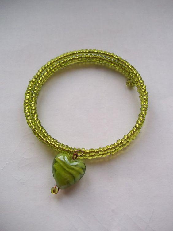 Handmade Glass Beaded Coil Bracelet