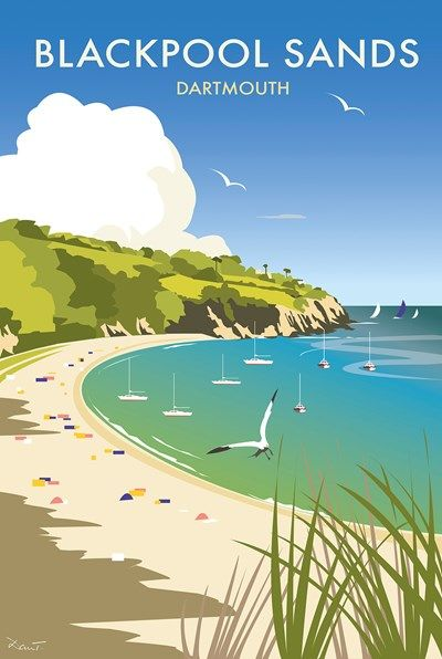 Blackpool Sands Dartmouth Print at Whistlefish - handpicked contemporary & traditional art that is high quality & affordable. Available online & in store