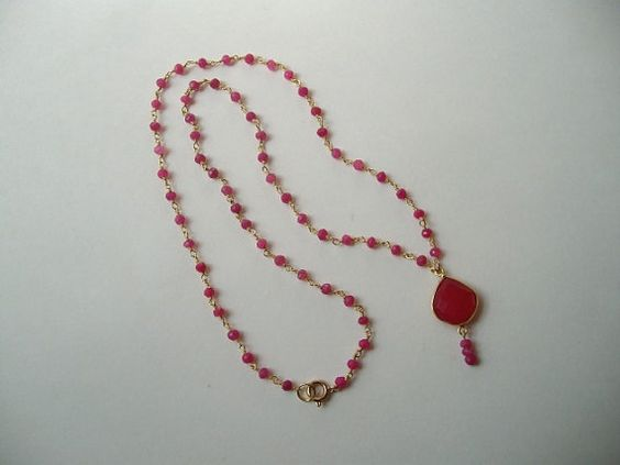 Handmade vivid pink tourmaline chain necklace by HoneybeedDesigns