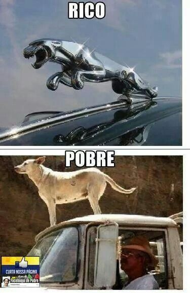 la diferencia de un pobre y su furgoneta y un rico y su ferrary