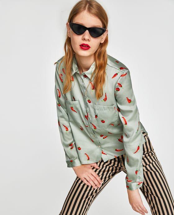 Zara Woman Chemisier avec Fleurs Oversize Chemise Floral XL shirt Blouse