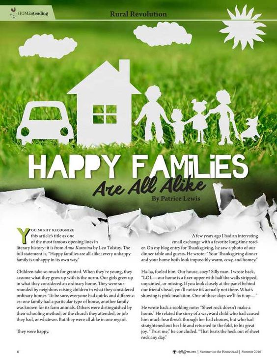 Happy Families Are All Alike By: Patrice Lewis-Molly Green - Summer 2016 - Page 8-9 http://www.mollygreenonline.com/mollygreen/summer_2016?pg=9#pg9