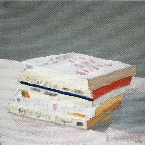4x4 oil on canvas painting  Book Stack 4 by ElizabethMayville