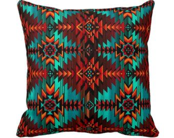Southwest Aztec Throw Pillow Cover - Red and Teal - 14x14 16x16 20x20 - Decorative Removable Envelope Pillow Case Cover - Home Decor