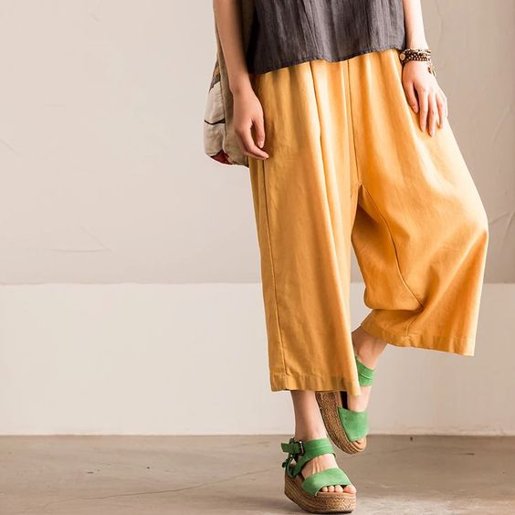 Yellow pants women linen Wide-legged pants Loose pants | Linen ...