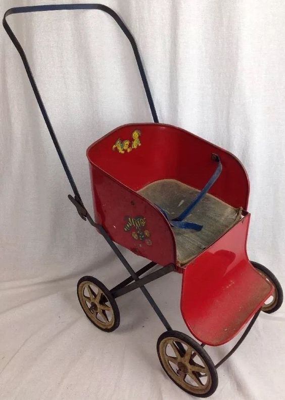VINTAGE1940'S MUSKIN TOY METAL DOLL STROLLER Red Foldable | Metals ...