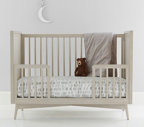 West Elm X Pbk Mid Century Guardrail Conversion Kit Pebble Pottery Barn Kids Toddler Bed Modern Crib Bedding Convertible Crib